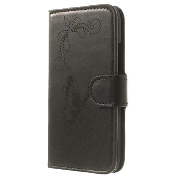 HTC One mini 2 Butterfly Wallet Leather Case - Black