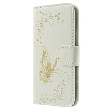 HTC One mini 2 Butterfly Wallet Leather Case - White