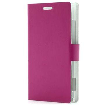 Nokia Lumia 925 Doormoon Wallet Leather Case - Hot Pink
