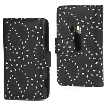 Nokia Lumia 920 Glittery Powder Flower Wallet Leather Case - Black