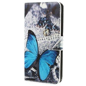 HTC Desire 510 Wallet Leather Case - Blue Butterfly