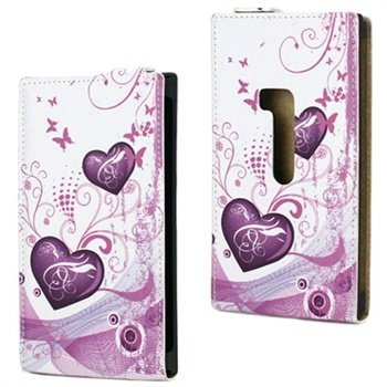 Nokia Lumia 920 Vertical Flip Leather Case - Hearts