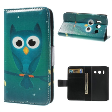 Huawei Ascend Y300 Wallet Leather Case - Blue Owl