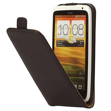 Vertical Flip Leather Case - HTC One X, One XL, One X Plus - Black
