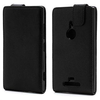 Nokia Lumia 925 Vertical Flip Leather Case - Black
