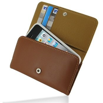 Apple iPhone 4 / 4S PDair Wallet Leather Case - Brown