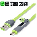 4smarts MultiCord Flatcable USB 2.0 / USB 3.1 Type-C & MicroUSB Cable - Green / Grey