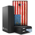 Beyond Cell Universal Dual USB Power Bank - American Flag / Black