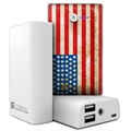 Beyond Cell Universal Dual USB Power Bank - American Flag / White