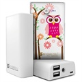 Beyond Cell Universal Dual USB Power Bank - Daisy Owl / White