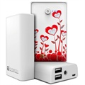 Beyond Cell Universal Dual USB Power Bank - True Heart / White
