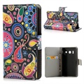 Huawei Ascend Y300 Wallet Leather Case - Colorful Flowers - Black