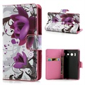 Huawei Ascend Y300 Wallet Leather Case - Elegant Lotus