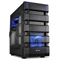 Sharkoon BD28 Mid Tower ATX PC Case - Black / Blue
