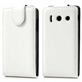 Huawei Ascend Y300 Vertical Flip Leather Case - White