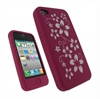 iPhone 4 iGadgitz Flower Design Silicone Case - Pink/White