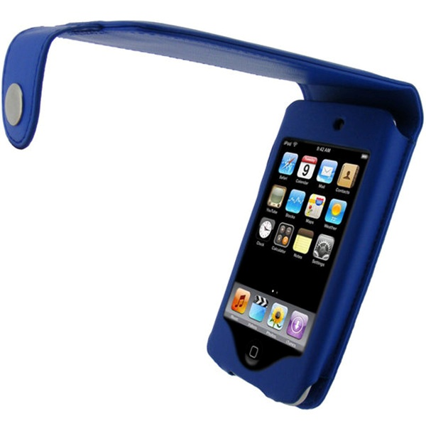 ipod touch 2g touch 3g igadgitz leather flip case blue. Black Bedroom Furniture Sets. Home Design Ideas